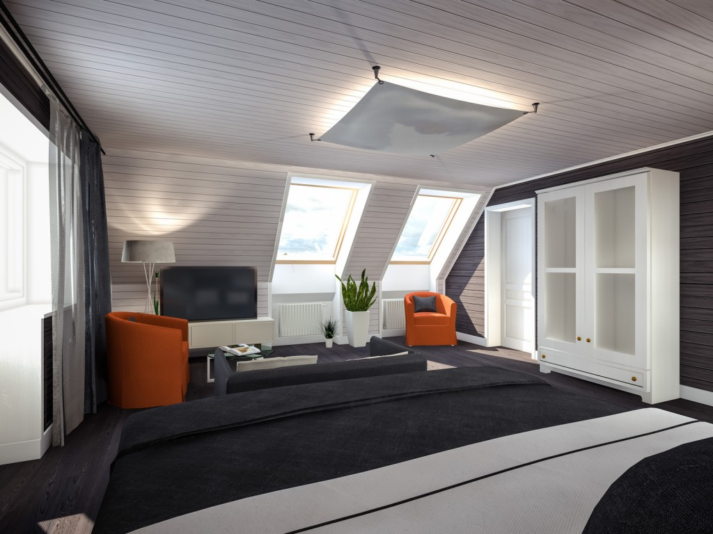 bedroom in the attic black-white-red 3D rendering
